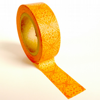 Orange Damask Pattern Washi Tape 15mm x 10m Roll WT0042