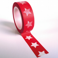 Red with Large White Stars Washi Tape 15mm x 10m Roll WT0051