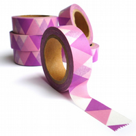 Pink and Purple Triangles Washi Tape 15mm x 10m Roll WT0022