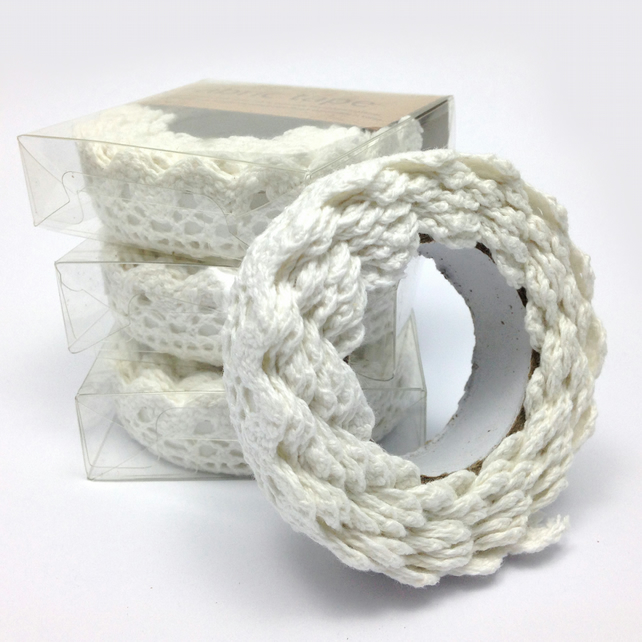 Lacy Fabric Sticky Tape Natural White 15mm x 1.8m WT0002