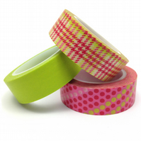 Tartan and Spots Washi Tape Set of 3 Pink and Lime 15mmx10m Rolls WT0083S