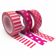 Pink Dots, Stars and Stripes Washi Tape Set of 3 15mmx10m Rolls WT0084S