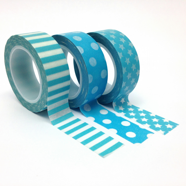 Blue Dots, Stars and Stripes Washi Tape Set of 3 15mmx10m Rolls WT0085S
