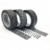 Black and White Monotone Geometric Washi Tape Set of 3 15mmx10m Rolls WT0081S