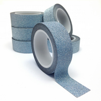Dark Silver Glitter Washi Tape 15mm x 5m Roll WT0060
