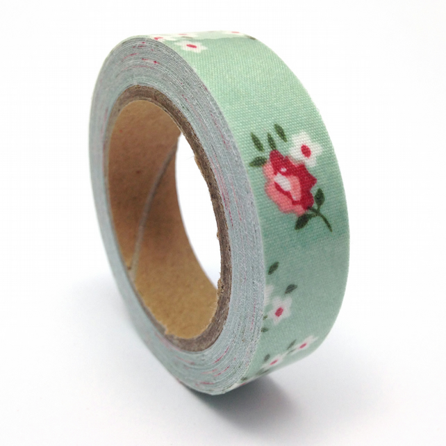 Pale Green Floral Fabric Sticky Tape 14mm x 3.5m Roll WT0063