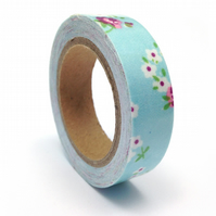 Pale Blue Floral Fabric Sticky Tape 14mm x 3.5m Roll WT0064
