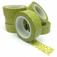 Green Floral Washi Tape 15mm x 10m Roll WT0065