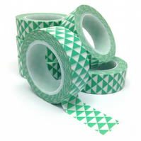 Turquoise Green Triangles Geometric Patterned Washi Tape 15mm x 10m Roll WT0068