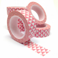 Pink Triangles Geometric Patterned Washi Tape 15mm x 10m Roll WT0066