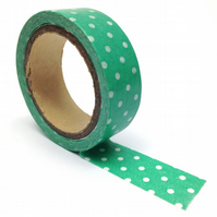 Green and White Polka Dot Spotty Washi Tape 15mm x 5m Roll WT0070