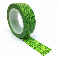 Green Flowers Patterned Washi Tape 15mm x 10m Roll WT0075