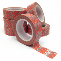 Blue Grey and Red Chevron Patterned Washi Tape 15mm x 10m Roll WT0074