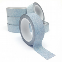 Silver Glitter Washi Tape 15mm x 5m Roll WT0060