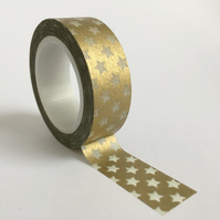 Gold with Small White Stars Washi Tape 15mm x 10m Roll WT0033