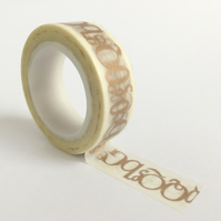 Gold Letters Typography Washi Tape 15mm x 10m Roll WT0028