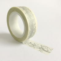 Silver Flourish on White Washi Tape 15mm x 10m Roll WT0019
