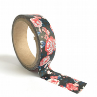 Red, Pink and Black Roses Washi Tape 15mm x 5m Roll WT0015
