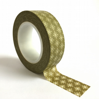 Olive with White Daisies Washi Tape 15mm x 15m Roll WT0026