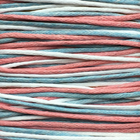 Waxed Cotton Cord (1mm) Mix - 3 x 5m Reels Pink Blue White CC0015
