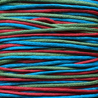 Waxed Cotton Cord (1mm) Mix - 3 x 5m Reels Red Olive Green Sea Blue CC0017