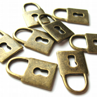 Antique Brass Lock Charms x 8 (CH0020)