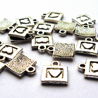Heart Square Charms x 20 (CH0008)
