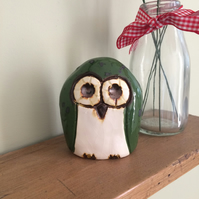 Ceramic Green Owl Ornament Pottery