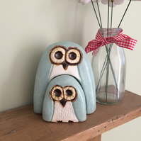Ceramic Mint Green Owl and Owlet Ornaments New Baby