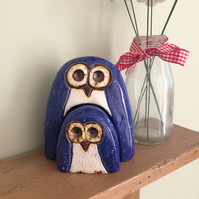 Ceramic Blue Owl and Owlet Gift