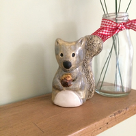 Ceramic Grey Squirrel Ornament