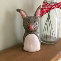 Ceramic Grey & Pink Rabbit Pottery Ornament