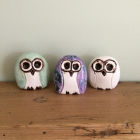 Ceramic Trio of Owl Ornaments