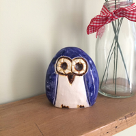 Ceramic Blue Owl Decoration