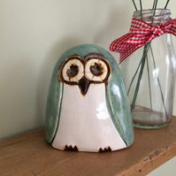 Pottery  Green Owl Ornament