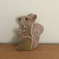 Ceramic Squirrel Brooch