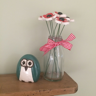Handmade Ceramic Poppies in a Vase