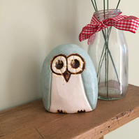 Ceramic Mint Owl
