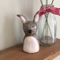 Ceramic Grey Rabbit Ornament