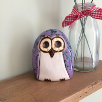 Ceramic Purple Owl Ornament