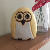 Ceramic Yellow Owl Pottery Decorative Ornament