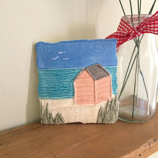 Ceramic Pink Beach Hut Wall Plaque