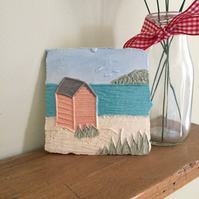 Ceramic Pink Beach Hut Plaque