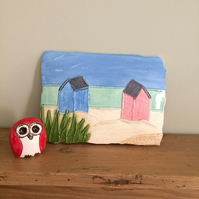 Ceramic Beach Hut Plaque