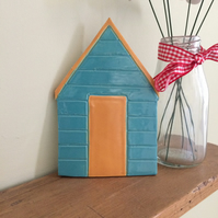 Ceramic Blue & Orange Beach Hut Plaque