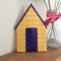 Ceramic Blue & Yellow  Beach Hut Plaque