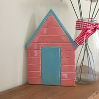 Ceramic Pink & Turquoise Beach Hut Wall Plaque Pottery