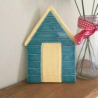 Ceramic Blue & Lemon Beach Hut Plaque