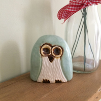 Ceramic Mint Owl Ornament