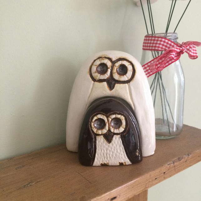 Ceramic Owl and Owlet Ornament
